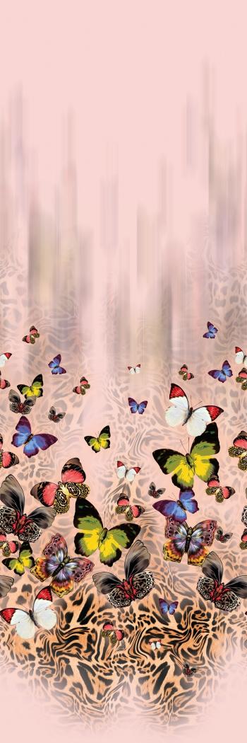 Hand drawn beautiful butterflies and amazing leopard pattern