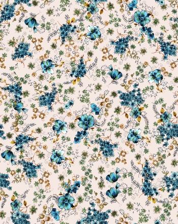 Hand drawn blue flowers