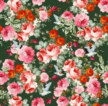 Hand drawn dense rose flower print pattern.