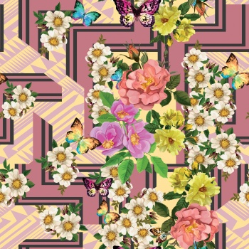 Hand-drawn flowers and butterflies are on special background that consists of geometric shapes.