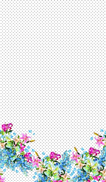 Hand-drawn flowers polka dots