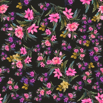 Hand painted neon rich bloom print pattern.