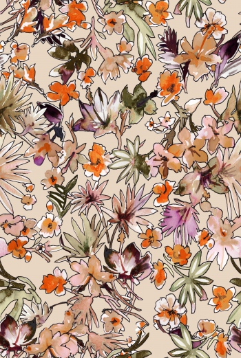 Handdrawn watercolored colorful flowers and cream background