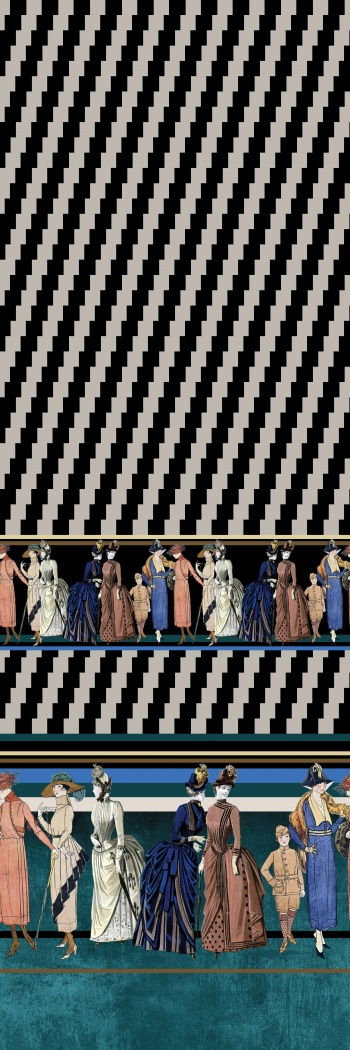 Illustrated ladies and boys are in pop-art border design