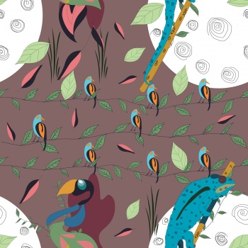 Jungle graphic seamless print.