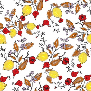 Lemons and Red Flowers