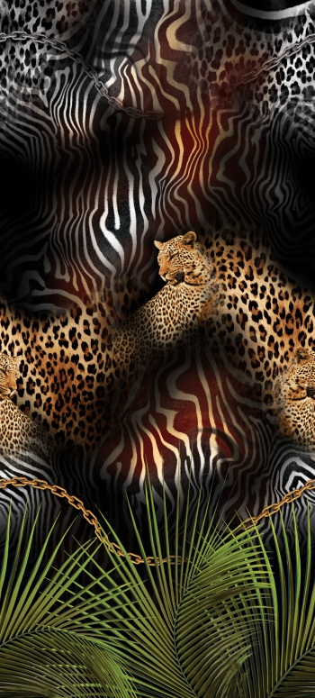 Leopard and zebra skin pattern with tropical foliages