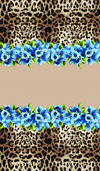 Leopard with blue flowers