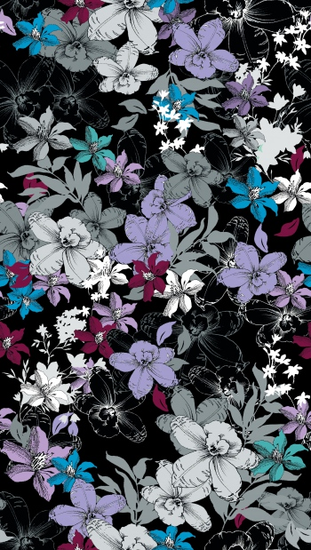 Lilies,Orchids and Leaves Drawing Illustration Pattern