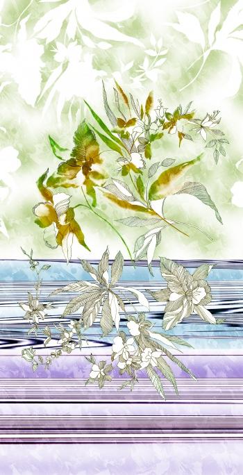 Line art flowers in border design