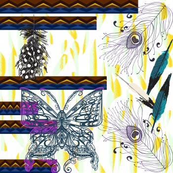 Lineart Butterflies and Peacock Feathers Patterns