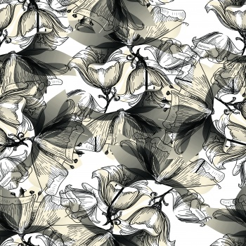 Lineart flowers and beige petals.Lineart flowers and beige petals.