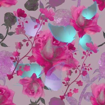 Magenta Roses,Butterflies