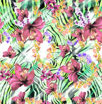 Maroon lilies and yellow flowers are on stylised zebra skin pattern