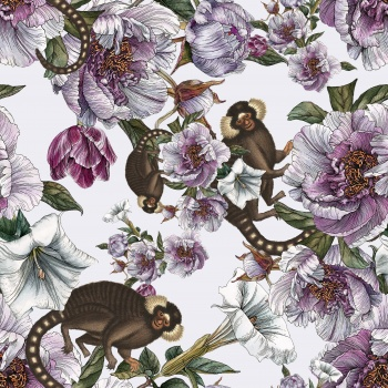Monkeys and purple florals.