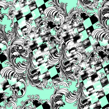 Monochrome baroque and checkered surface.