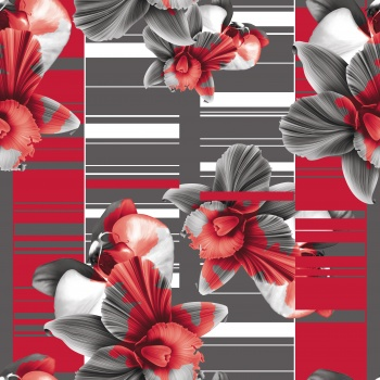 Monochrome flowers in red..