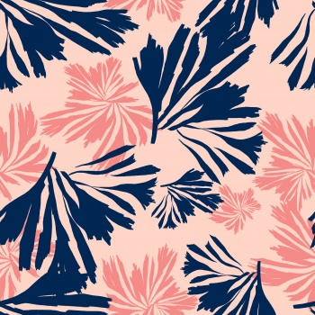 Navy and Pink Leaves
