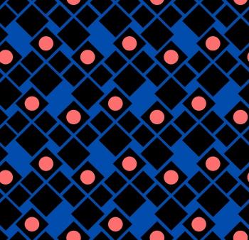 Orange circles on Square Pattern