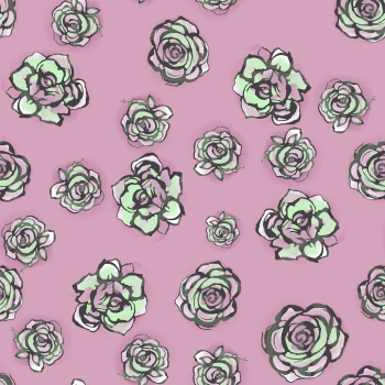 Outlined Roses on Pink