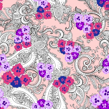 Paisleys and Purple Flowers