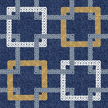 Pattern with square bracelets with a Scandinavian ornament on a denim background