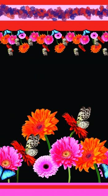 Photographic flowers and butterflies