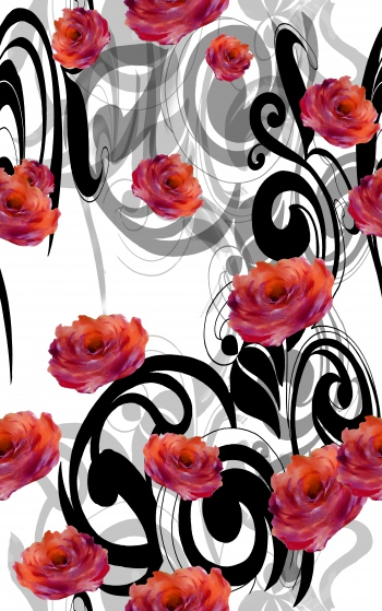 Photographic roses with black motifs