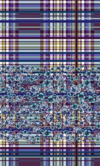 Plaid-Border with Flowers.