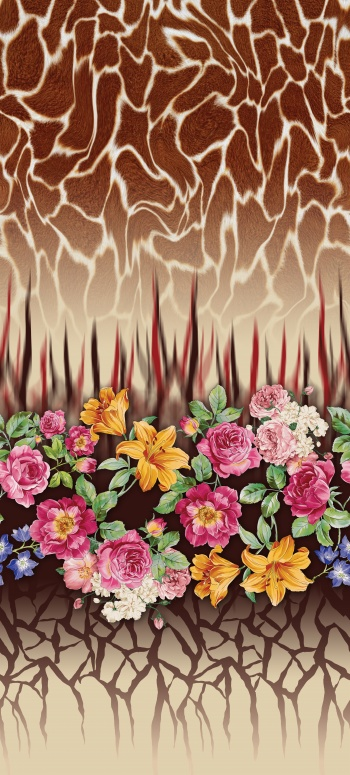 Realistic giraffe skin pattern and hand-drawn flowers