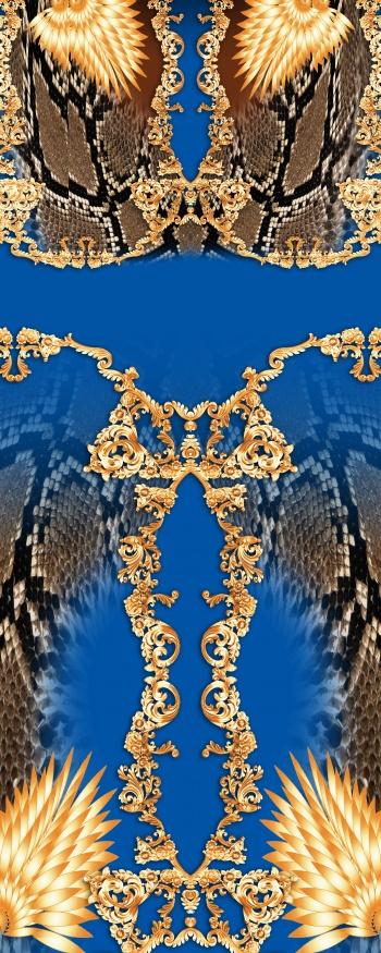 Realistic snake skin pattern and golden motifs