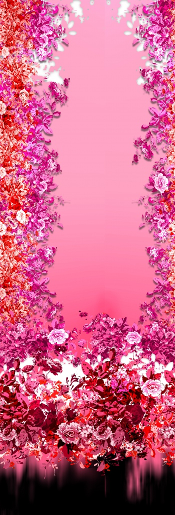 Red bright flowers on pink background