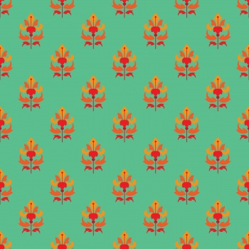 Red floral on sea green