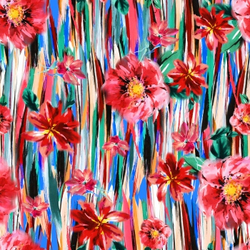 Red Flowers and Colorful Stripes