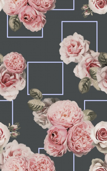 Renaissance roses with squares.