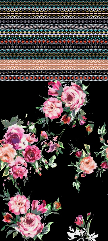 Rose Bouquets and ethnic border-2-