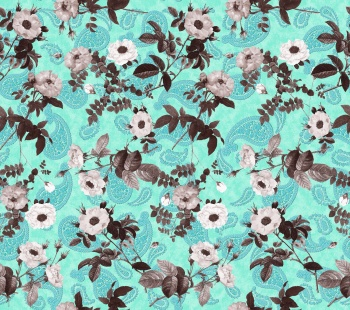 Roses on Abstract Paisley Background