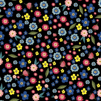 Seamless Ditsy Floral Pattern With Fantasy Little Flowers And Leaves In Folk Style.