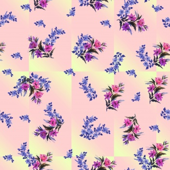 Seamless flower pattern on block check background