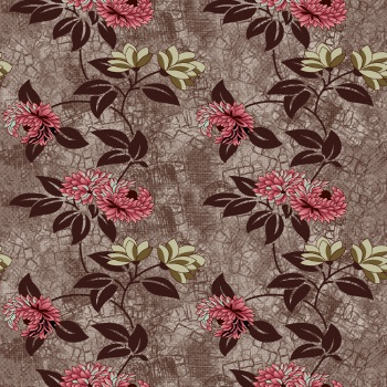 Seamless Pattern Leaves Flowers Floral Design