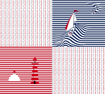 Seamless pattern with ship and lighthouse on blue and red stripes