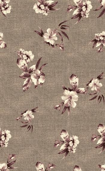 Single beautiful flowers on fabric