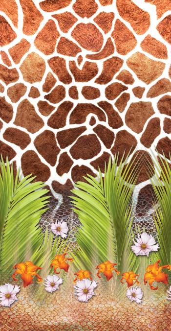 Snake skin giraffe skin pattern with palm