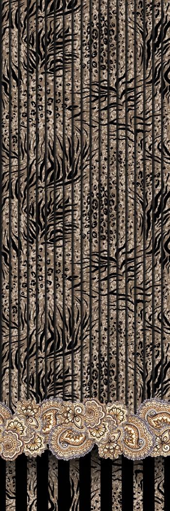 Stylised animal skin pattern and hand-drawn paisleys