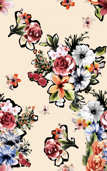 Stylised flower bouquets are on cream background