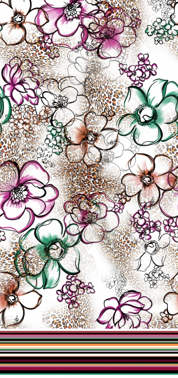 Stylised flowers and leopard pattern with border