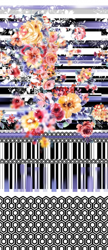 Stylised flowers and monochrome motifs with purple effects