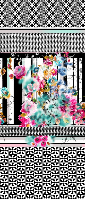 Stylised flowers and monochrome motifs