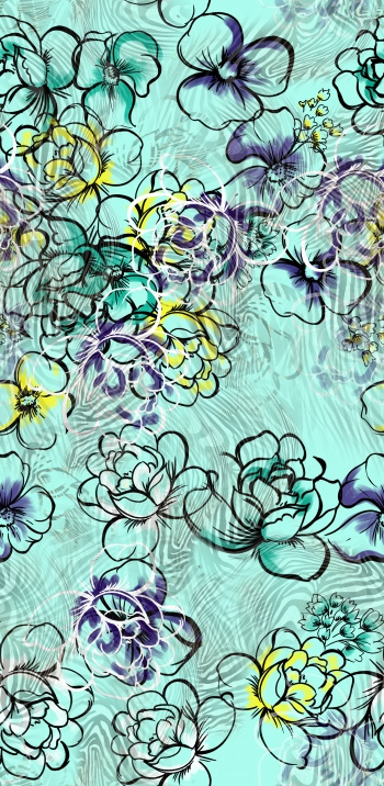 Stylised flowers and zebra skin pattern