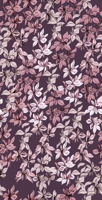 Stylised flowers are on maroon background